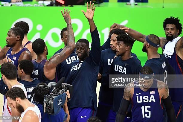 USA's forward Draymond Green USA's guard Kevin Durant USA's guard Demar Derozan USA's forward Jimmy Butler USA's forward Carmelo Anthony USA's centre...