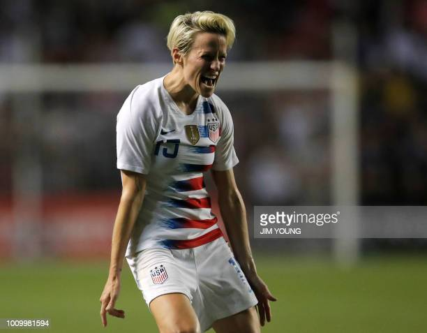 US's forward Megan Rapinoe celebrates her goal during the second half of the Tournament of Nations women's football match between Brazil and the US...