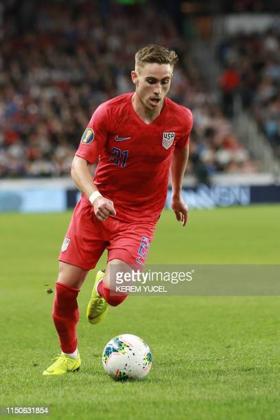 USA's forward Tyler Boyd dribbles the ball during the 2019 CONCACAF Gold Cup Group D match between USA and Guyana on June 18 2019 at Allianz Field in...