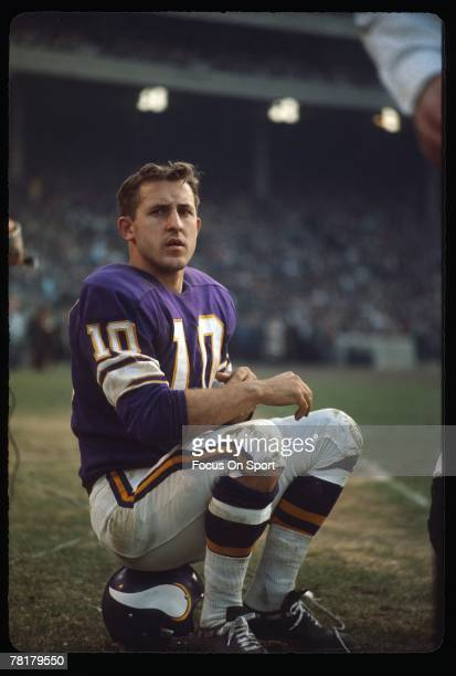MINNEAPOLIS MN CIRCA 1970's Fran Tarkington of the Minnesota Vikings sits on his helmet on the sidelines during a mid circa 1970's NFL football game...