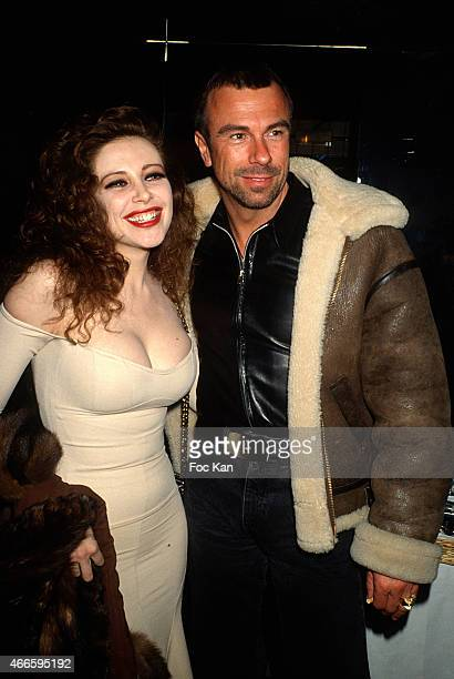 PARIS FRANCE CIRCA 1990's Francesca Dellera and Thierry Mugler attend a fashion week Party at Les Bains Douches in the 1990s in Paris France