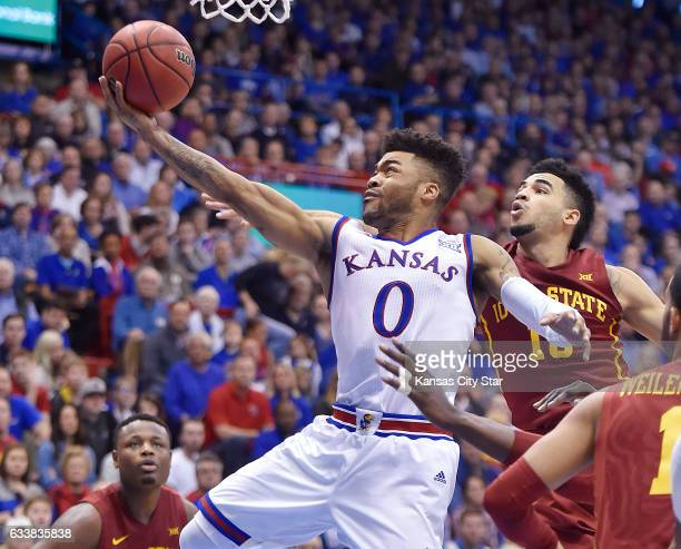 KU's Frank Mason blows past Iowa State's Naz MitrouLong for a bucket during the second half at Allen Fieldhouse in Lawrence Kan on Saturday Feb 4...