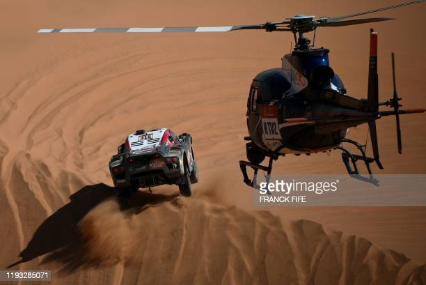 TOPSHOT SRT's French driver Mathieu Serradori and Belgian codriver Fabian Lurquin compete in the Stage 7 of the Dakar 2020 between Riyadh and Wadi Al...