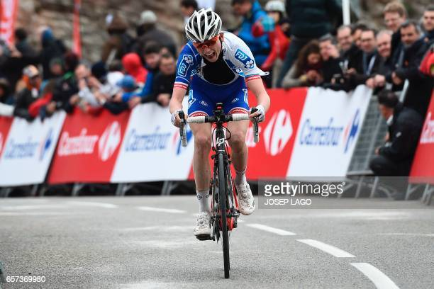 FDJ's French rider David Gaudu rides to the finish line during the fifth stage of the 97th Volta Catalunya 2017 a 182km from Valls to Lo Port in...
