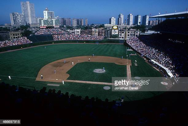 General view as the Chicago Cubs take on the Philadelphia Phillies circa 1980's at Wrigley Field in Chicago, Illinois.