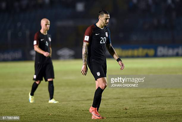 USA's Geoff Cameron leaves the field in dejection after being defeated by Guatemala 20 in a Russia 2018 FIFA World Cup Concacaf Qualifiers' football...