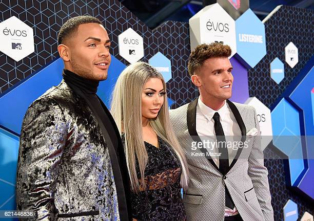 MTV's Geordie Shore cast member Nathan Henry Chloe Ferry and Gary Beadle attend the MTV Europe Music Awards 2016 on November 6 2016 in Rotterdam...