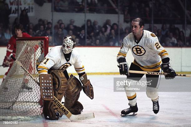Gerry Cheever and Dallas Smith of the Boston Bruins defend goal .
