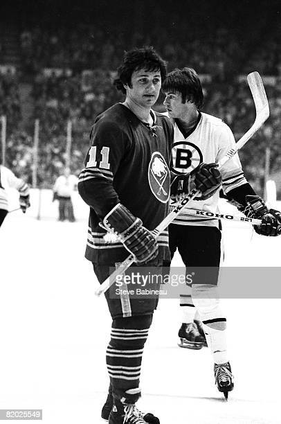 BOSTON MA 1970's Gilbert Perreault of the Buffalo Sabres waits for face off action in game against the Boston Bruins at the Boston Garden