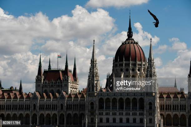USA's Ginger Huber competes in round 1 of the women's High Diving competition at the 2017 FINA World Championships in Budapest on July 28 2017 / AFP...