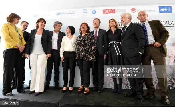 AFP's Global News Director Michele Leridon Spanish journalist Sergio Rodriguez French ambassador to Mexico Anne Grillo AFP Director for Latin America...