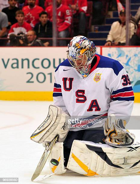USA's goalkeeper Jonathan Quick reacts during the Men's preliminary Ice Hockey match Canada against USA at the XXI Winter Olympic games in...