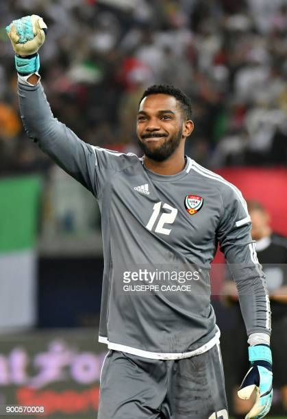 UAE's goalkeeper Khalid Eisa celebrates after saving a penalty during the 2017 Gulf Cup of Nations semifinal football match between Iraq and the UAE...