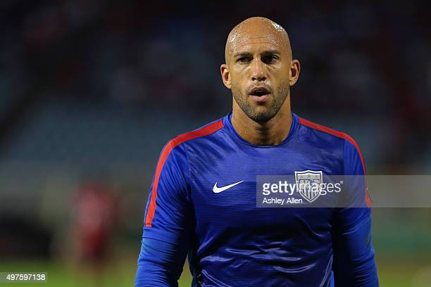 USA's goalkeeper Tim Howard feels the heat during a World Cup Qualifier between Trinidad and Tobago and USA as part of the FIFA World Cup Qualifiers...