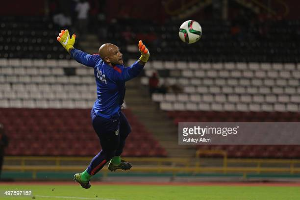 USA's goalkeeper Tim Howard pulls off an acrobatic save at his team's warm up session during a World Cup Qualifier between Trinidad and Tobago and...