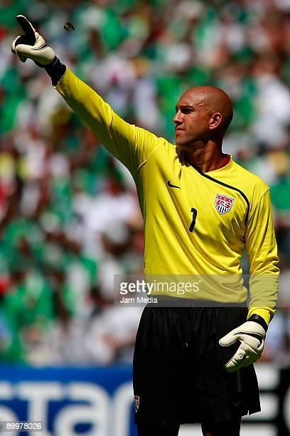 USA's goalkeeper Timothy Howard during the FIFA World Cup 2010 Qualifier match against Mexico at the Azteca Stadium on August 12 2009 in Mexico City...