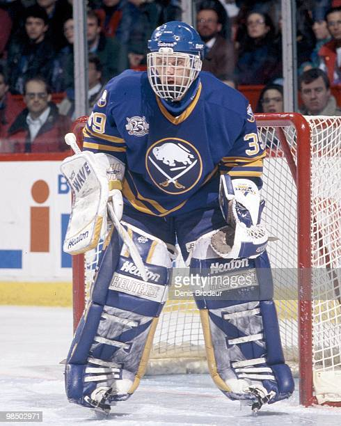 Goaltender Dominik Hasek of the Buffalo Sabres protects the net against the Montreal Canadiens in the 1990's at the Montreal Forum in Montreal,...