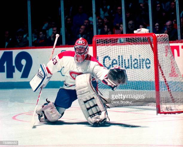 MONTREAL 1990's Goaltender Patrick Roy of the Montreal Canadiens gets set to defend the net during the game