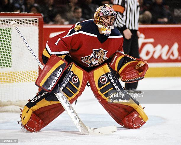 MONTREAL 2000's Goaltender Roberto Luongo of the Florida Panthers protects the net against the Montreal Canadiens in the early 2000's at the Montreal...