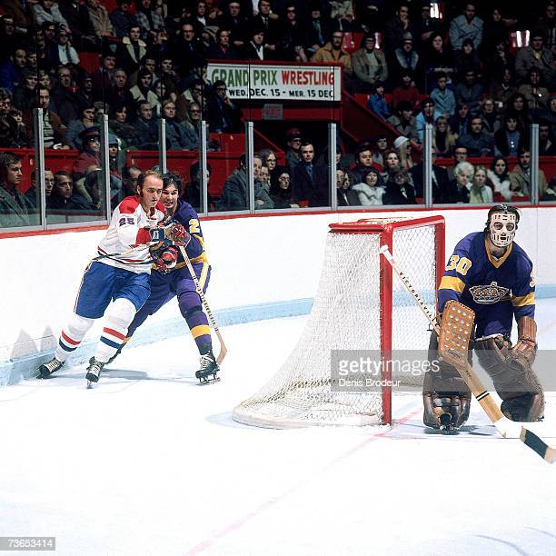 MONTREAL 1970's Goaltender Rogatien Vachon of the Los Angeles Kings prepares to defend the net as teammate Gary Sargent and Jacques Lemaire the...