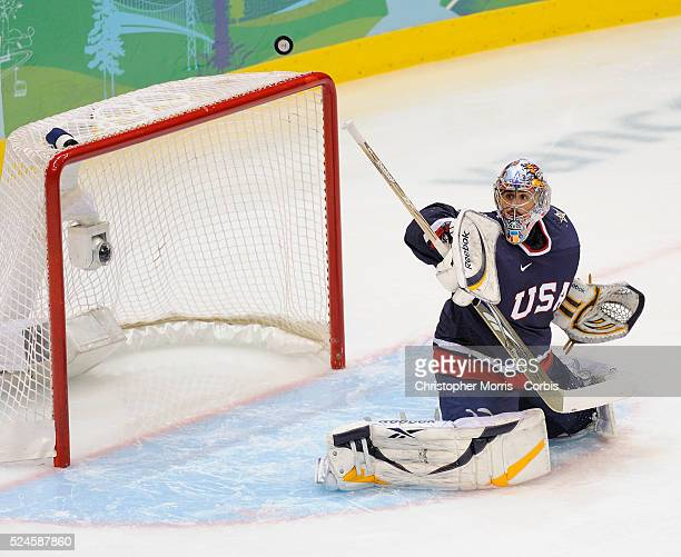 USA's goaltender Ryan Miller makes a save during the quarterfinal vs Switzerland at Canada Hockey Place day 13 of the 2010 Vancouver Winter Olympics