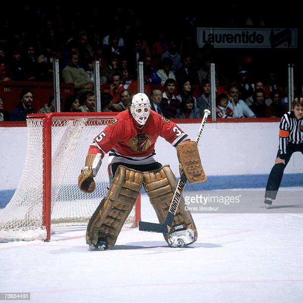 MONTREAL 1980's Goaltender Tony Esposito of the Chicago Blackhawks prepares to defend the net against the Montreal Canadiens