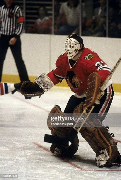 CIRCA 1970's Goaltender Tony Esposito of the Chicago Blackhawks skates during an NHL Hockey game circa 1970's Esposito played for the Blackhawks from...