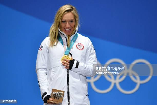 USA's gold medallist Jamie Anderson poses on the podium during the medal ceremony for the women's snowboard slopestyle at the Pyeongchang Medals...