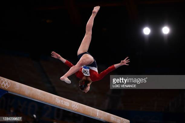 S Grace Mc Callum competes in the balance beam event of the artistic gymnastics women's team final during the Tokyo 2020 Olympic Games at the Ariake...
