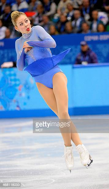 USA's Gracie Gold performs during the team ladies free figure skating dance short program at the Iceberg Skating Palace at the Winter Olympics in...
