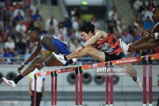 S Grant Holloway leads Japan's Shunya Takayama in the Men's 110m Hurdles heats at the 2019 IAAF Athletics World Championships at the Khalifa...