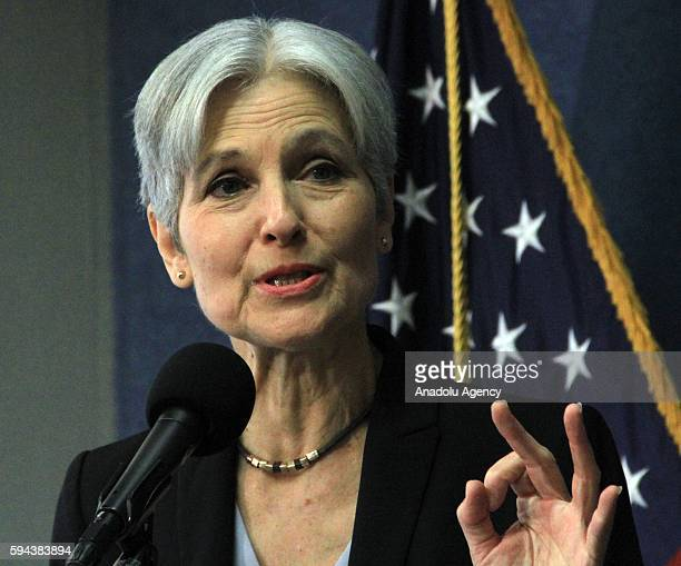 USA's Green Party's Presidential nominee Jill Stein gives a speech during a press conference at the National Press Club in Washington DC USA on...
