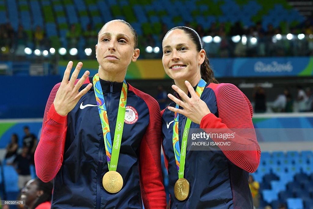 BASKETBALL-OLY-2016-RIO-USA-ESP-SRB-PODIUM : News Photo