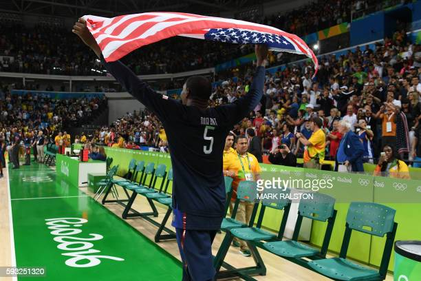 S guard Kevin Durant celebrates after winning the Men's Gold medal basketball match between Serbia and USA at the Carioca Arena 1 in Rio de Janeiro...