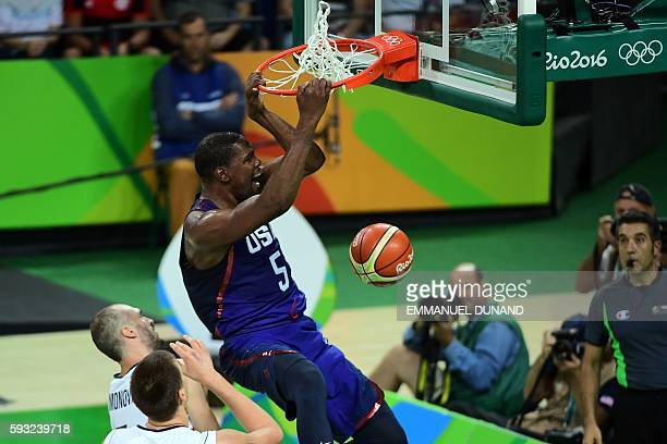 S guard Kevin Durant dunks during a Men's Gold medal basketball match between Serbia and USA at the Carioca Arena 1 in Rio de Janeiro on August 21,...