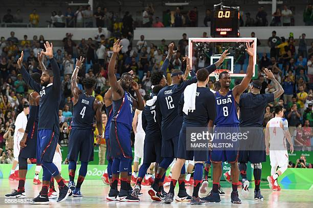 USA's guard Kyrie Irving USA's forward Jimmy Butler USA's forward Draymond Green USA's guard Kyle Lowry USA's centre DeMarcus Cousins and USA's...