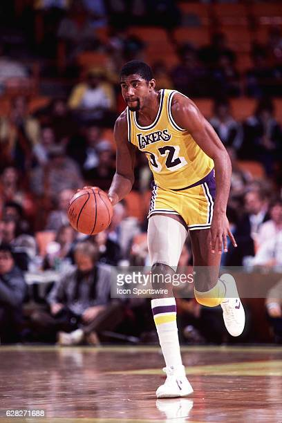 1980's Guard Magic Johnson of the Los Angeles Lakers in action during a Lakers game at the Forum in Inglewood CA