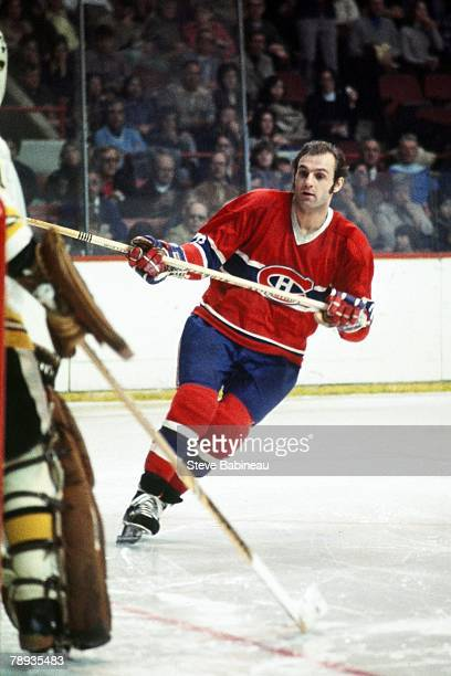 BOSTON MA 1970's Guy Lafleur of the Montreal Canadiens plays against the Boston Bruins