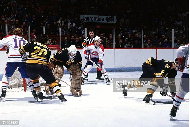 MONTREAL QC 1980's Guy Lafleur of the Montreal Canadiens takes a shot against the Boston Bruins during their NHL game in Montreal Canada