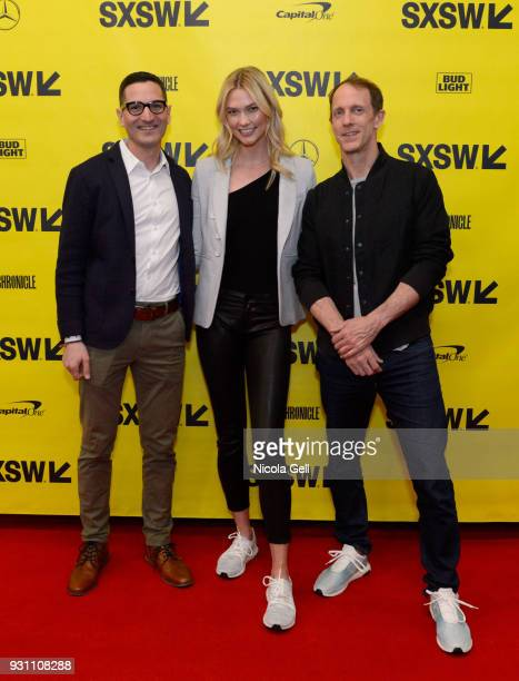 NPR's Guy Raz Karlie Kloss and Adidas Head of Global Brands Eric Liedtke attend Create the World You Want to Live In during SXSW at Austin Convention...
