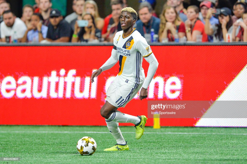 LA's Gyasi Zardes (11) looks to make a move with the ball during a match between Atlanta United and LA Galaxy on September 20, 2017 at Mercedes-Benz Stadium in Atlanta, GA.