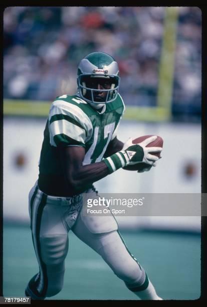 PHILADELPHIA PA CIRCA 1970's Harold Carmichael of the Philadelphia Eagles runs with the ball in a circa 1970's NFL football game at Veteran Stadium...