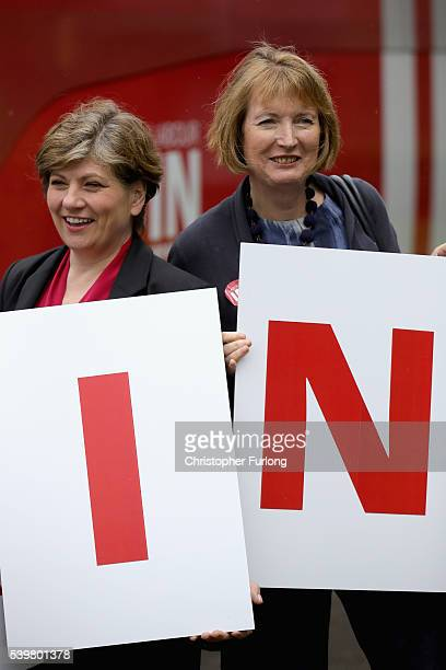 MP's Harriet Harman and Emily Thornberry pose for the media outside Palfrey Sure Start Centre as they join the Labour In battle bus to campaign in...