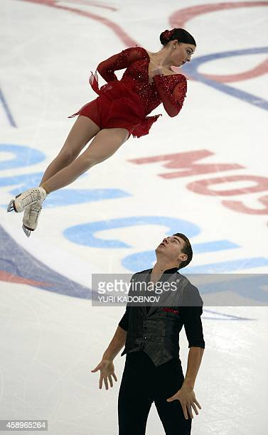 USA's Haven Denney and Brandon Frazier perform during their pairs short program at the ISU Grand Prix Figure skating Rostelekom Cup in Moscow on...