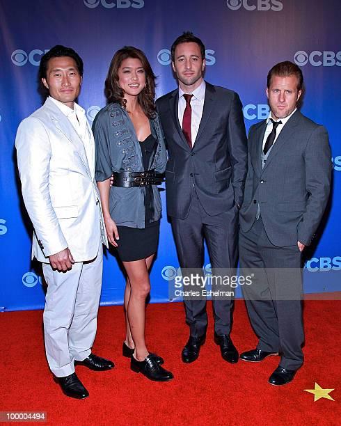 CBS's Hawaii FiveO actors Daniel Dae Kim Grace Park Alex O'Loughlin and Scott Cann attend the 2010 CBS UpFront at Damrosch Park Lincoln Center on May...