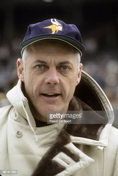 S: Head Coach Bud Grant of the Minnesota Vikings on the field prior to the start of a late circa 1970's NFL football game at Metropolitan Stadium in...