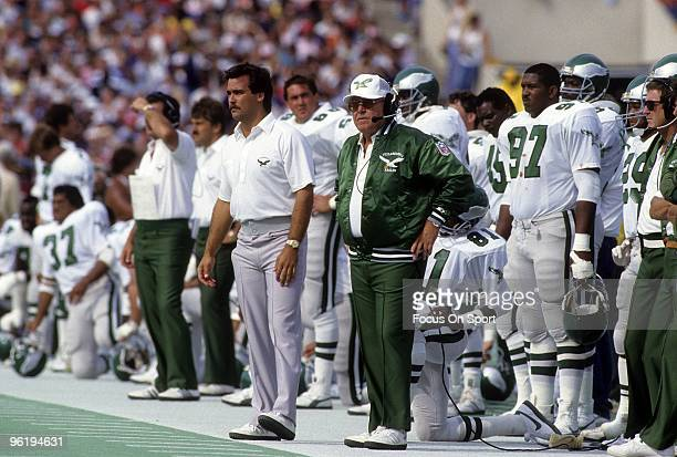 CHICAGO IL CIRCA 1980's Head Coach Buddy Ryan of the Philadelphia Eagles watching the action from the sideline during a late circa 1980s NFL football...