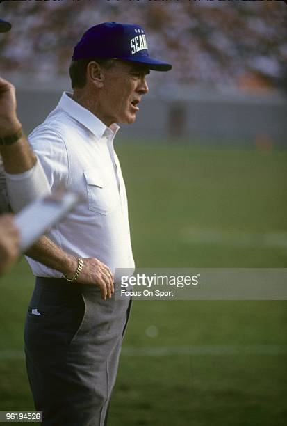 CIRCA 1980's Head Coach Chuck Knox of the Seattle Seahawks watching the action from the sidelines during a mid circa 1980's NFL football game Knox...