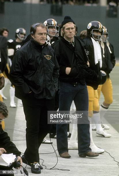 PITTSBURGH PA CIRCA 1970's Head Coach Chuck Noll and quarterback Terry Bradshaw of the Pittsburgh Steelers watching the action from the sidelines...