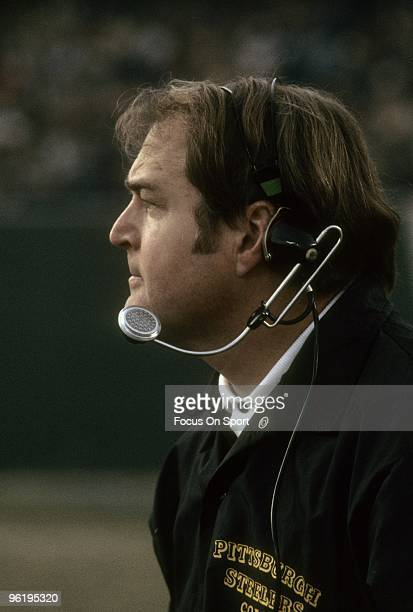 CIRCA 1970's Head Coach Chuck Noll of the Pittsburgh Steelers watching the action from the sidelines during a mid circa 1970's NFL football game Noll...